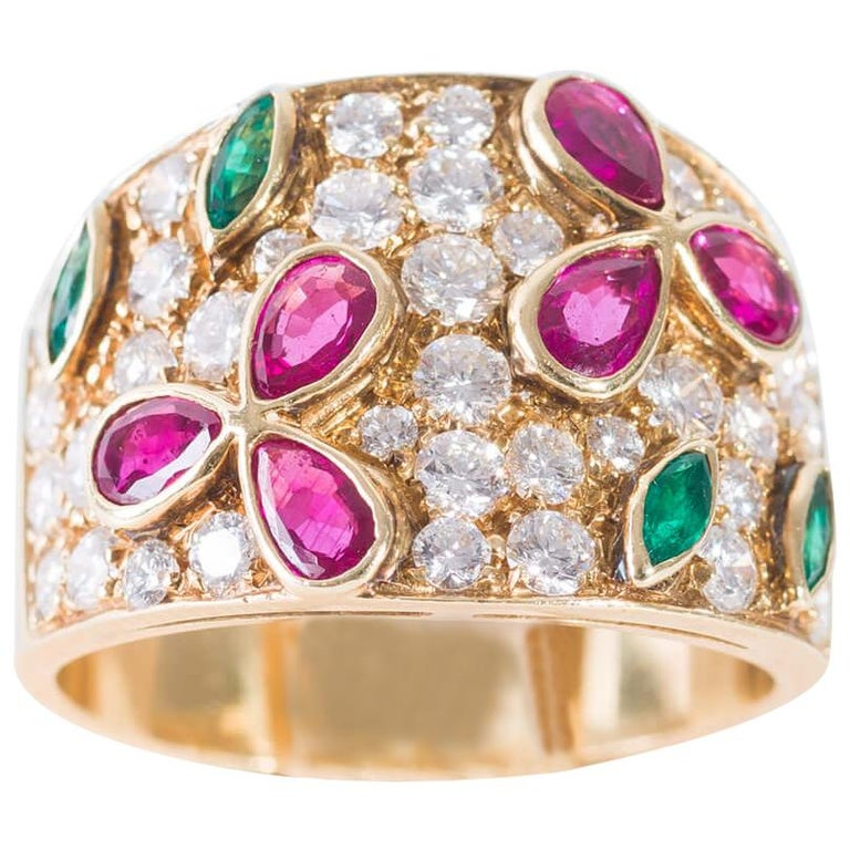 Band Ring in Diamonds Yellow Gold, Drop Cut Rubies and Emeralds For Sale