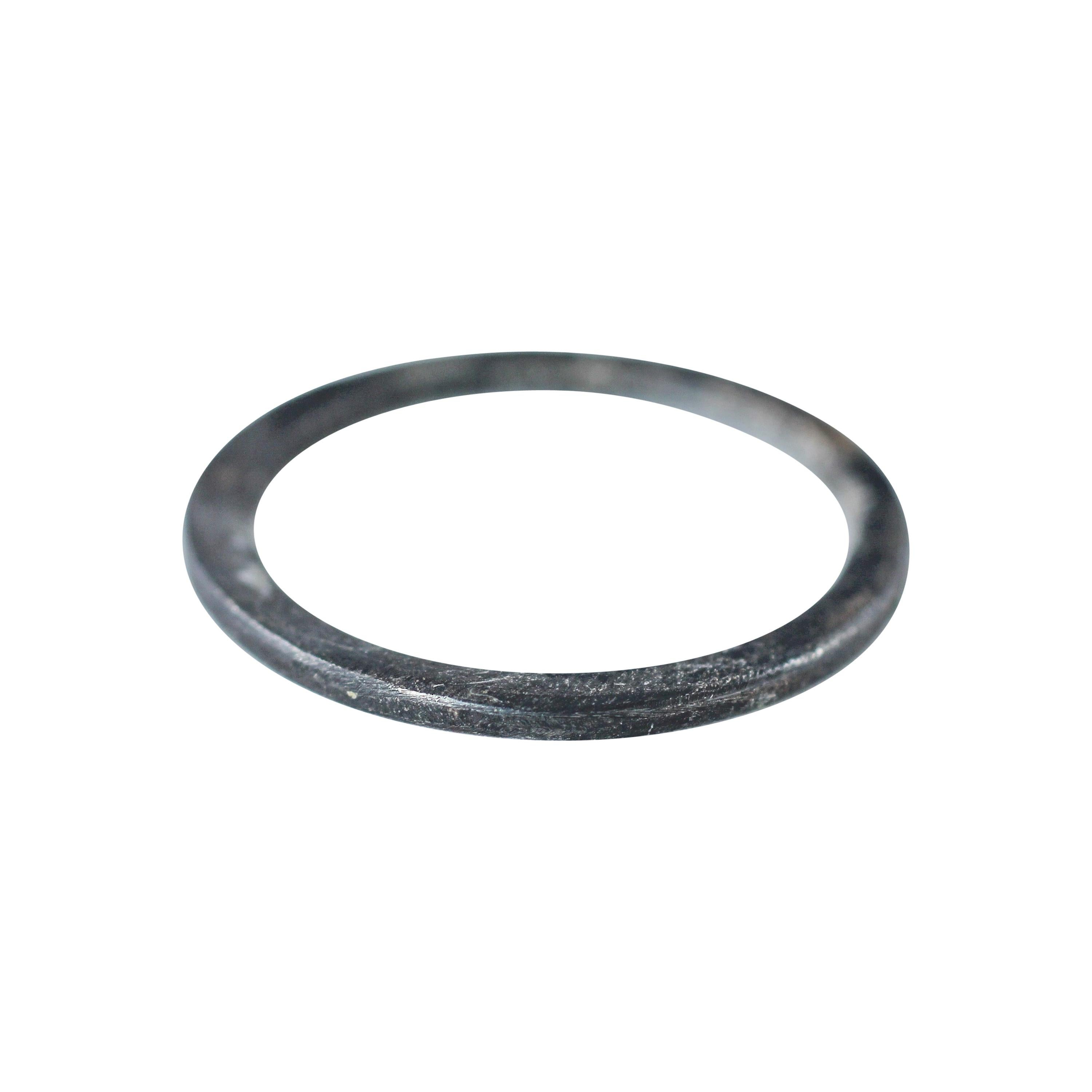 Band Ring in Oxidized Sterling Silver Medium Disk Stacking Fashion Contemporary