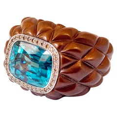 Band Ring in Stainless Steel 18 Karat White Gold with a Blue Zircon and Diamonds