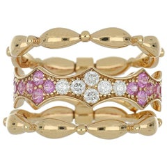 Band Ring Rose Gold 18 Karat with White Diamond Color G / VS and Pink Sapphires