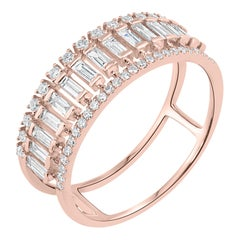 Band Ring with 0.69 Carat Baguette and Round Diamond in 14k Rose Gold for Women