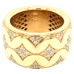 Band Ring Yellow Gold with Diamonds Made in Italy