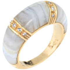 Banded Agate Diamond Ring 18 Karat Yellow Gold Dome Band Jewelry Stacking