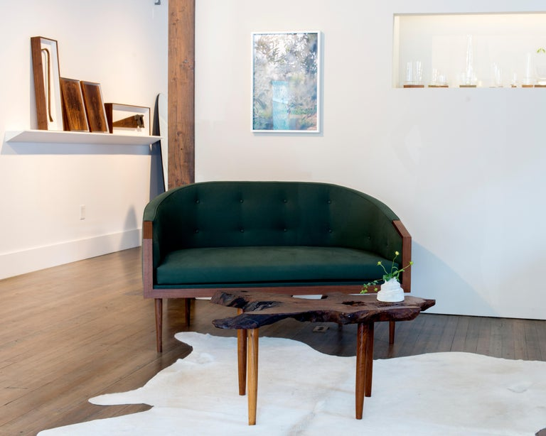 Modern Loveseat with Walnut Banded Barrel Back, Hand-Turned Legs and Tufting For Sale