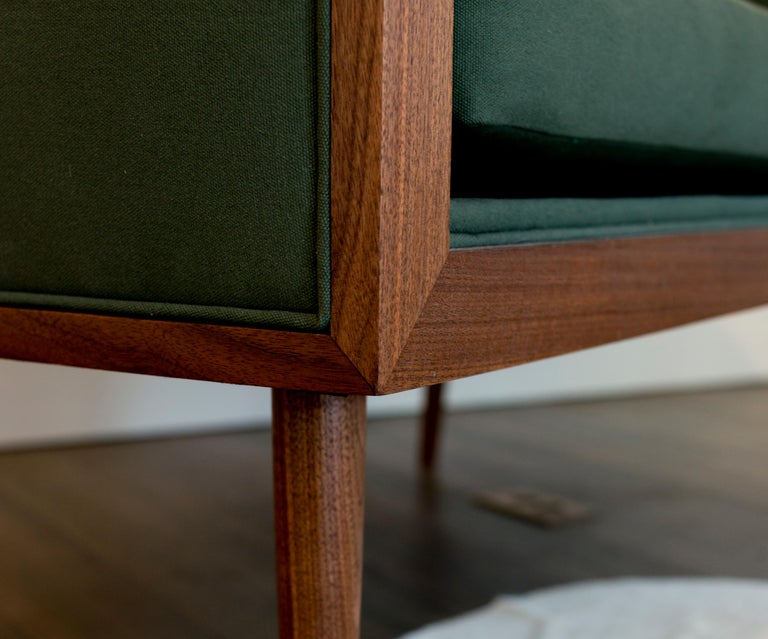 Hand-Crafted Loveseat with Walnut Banded Barrel Back, Hand-Turned Legs and Tufting For Sale