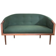 Banded Barrel Back Loveseat in Walnut with Hand-Turned, Tapered Legs and Tufting
