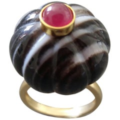 Banded Black Onyx Turban Fashion Ring Ruby Cabochon 14 Karat Solid Yellow Gold