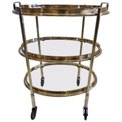 Banded Brass Three-Tiered Side table by Tommi Parzinger for Dorlyn Silversmiths