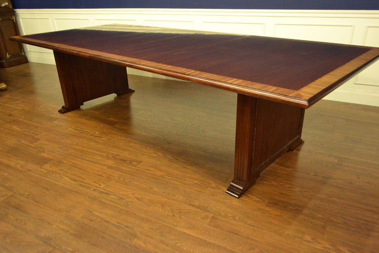 American Traditional Mahogany Rectangular Pedestal Conference Table by Leighton Hall For Sale