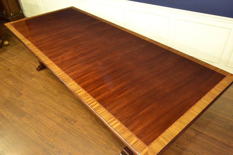Traditional Mahogany Rectangular Pedestal Conference Table by Leighton Hall In New Condition For Sale In Suwanee, GA