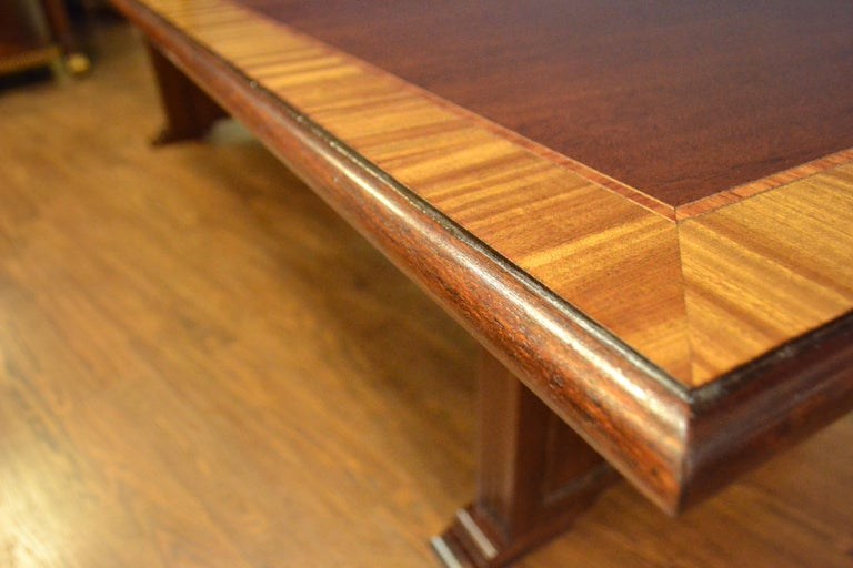 Contemporary Traditional Mahogany Rectangular Pedestal Conference Table by Leighton Hall For Sale