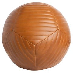Banded Ottoman in Saddle Aniline Leather by Moses Nadel