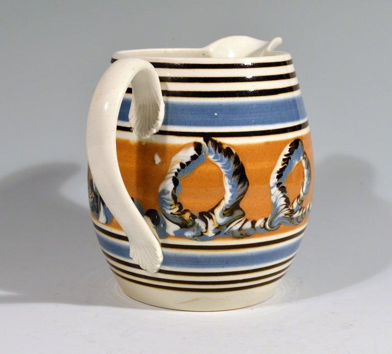 Folk Art Banded Pearlware Mocha Jug with Earthworm Design, 1790-1810 For Sale