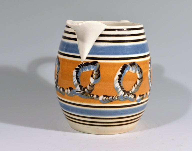 English Banded Pearlware Mocha Jug with Earthworm Design, 1790-1810 For Sale