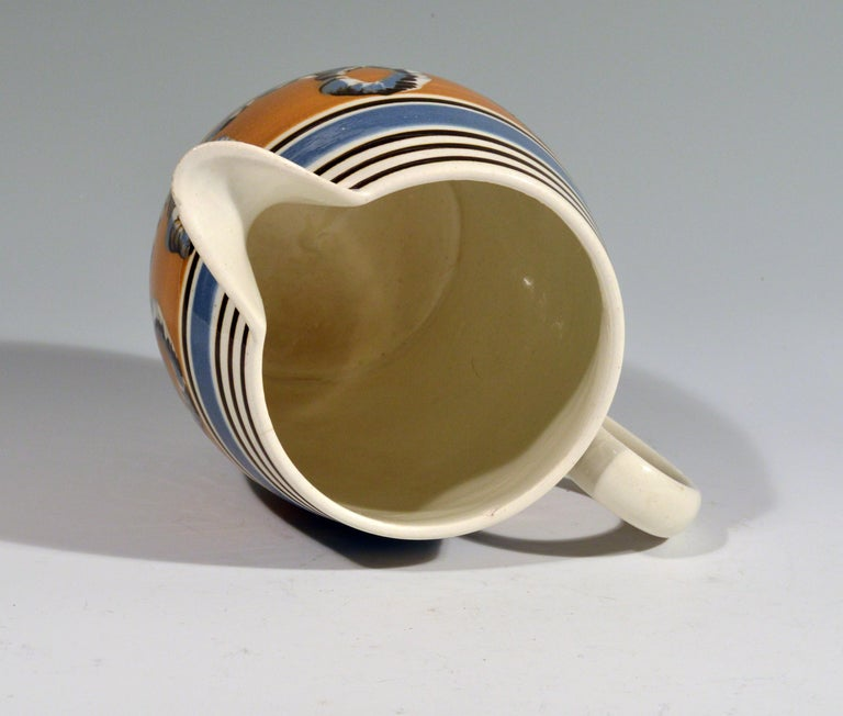 Banded Pearlware Mocha Jug with Earthworm Design, 1790-1810 In Good Condition For Sale In Maryknoll, NY