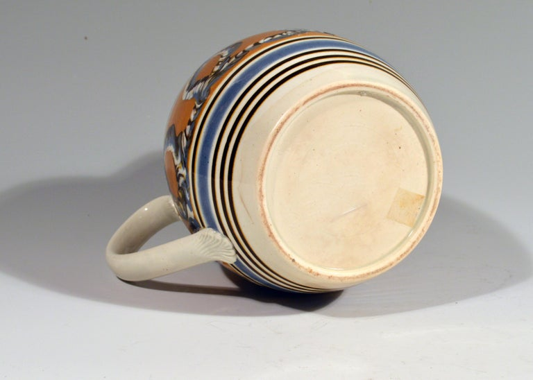 18th Century Banded Pearlware Mocha Jug with Earthworm Design, 1790-1810 For Sale