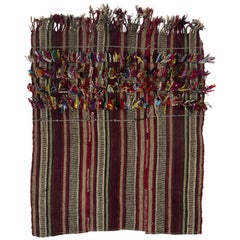Vintage Tribal Anatolian Kilim with Colorful Poms