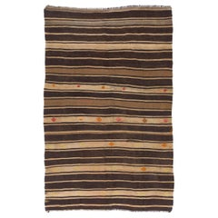 Banded Vintage Anatolian Kilim Rug. 100% Wool