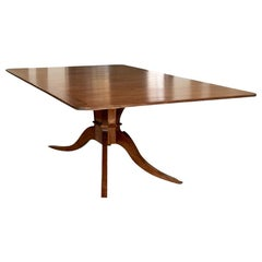 Banded Walnut Dining Table with Ornate Carved Pedestal Base