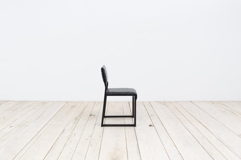 American Bandholz Dining Chair in Blackened Steel with Upholstered Leather Seat and Back For Sale