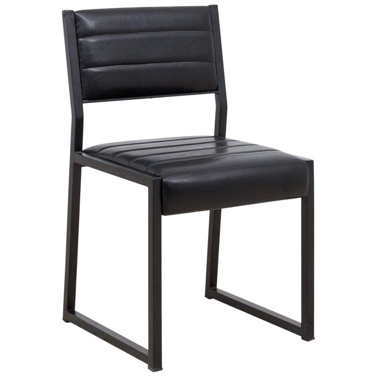 Bandholz Dining Chair in Blackened Steel with Upholstered Leather Seat and Back For Sale