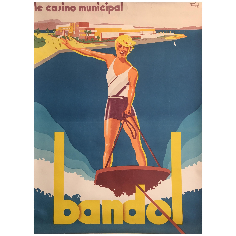 'Bandol' Sports & Ski Art Deco 1930s Original Vintage Poster by Andre Bermond