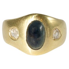 Bandring Yellow Gold with Sapphire Cabochon and Diamonds, Gypsyring, Men
