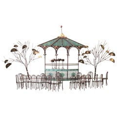 Bandstand / Gazebo Mixed Metal Wall Sculpture by Curtis Jere