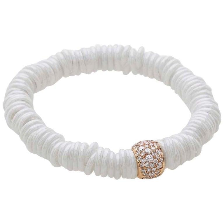 Bang Ceramic Bracelet or Diamonds Rose Gold For Sale