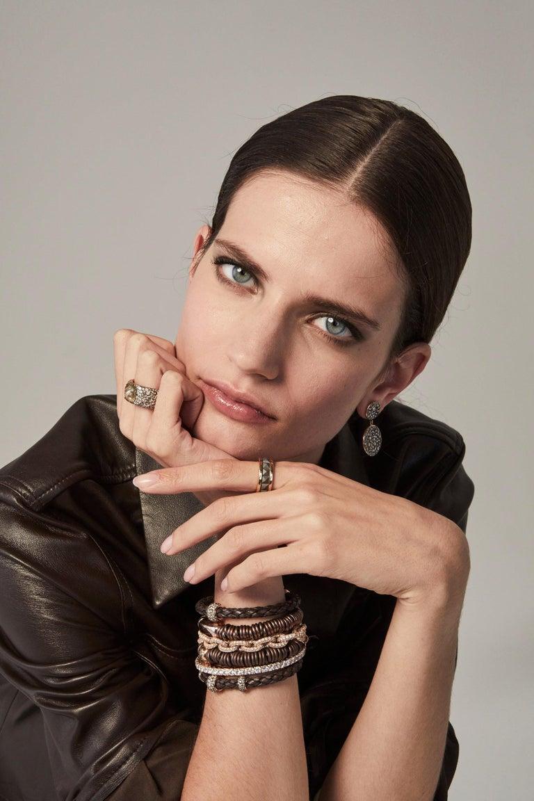 Brilliant Cut Bang Ceramic Bracelet or Diamonds Rose Gold For Sale