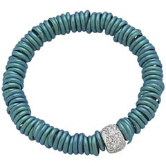 Bang Titanium Light Blue Bracelet or Diamonds White Gold