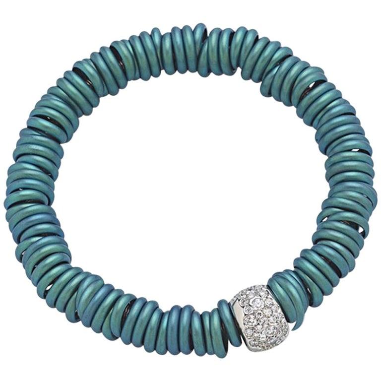 Bang Titanium Light Blue Bracelet or Diamonds White Gold For Sale
