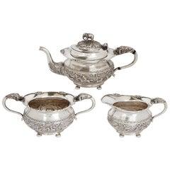 Bangalore Krishniah Chetty Silver Tea Set in Indian Animalier Style