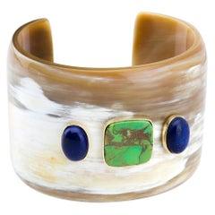 Bangle Bone Turquoise Lapis Lazuli Gold