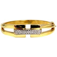 Bangle Bracelet 14 Karat .70 Carat Round Natural Diamonds Raised Bar Mod Deco