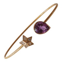 Bangle Bracelet in 18 Karat Pink Gold with a Diamond Star and an Amethyst