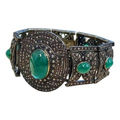 Bangle Bracelet Victorian Diamond Emerald Cabochon 14K Gold, Silver, Yellow Gold