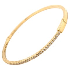 Bangle Diamond Tennis Bracelet Yellow Gold