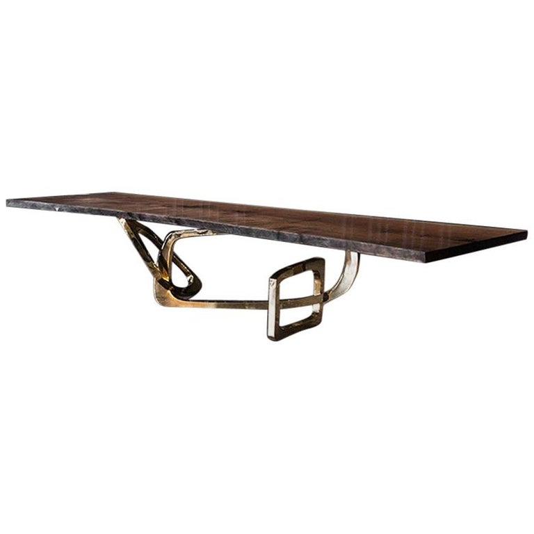 Bangle Dining Table 'Bronze Base with a Seamed Walnut Top' by Hudson For Sale