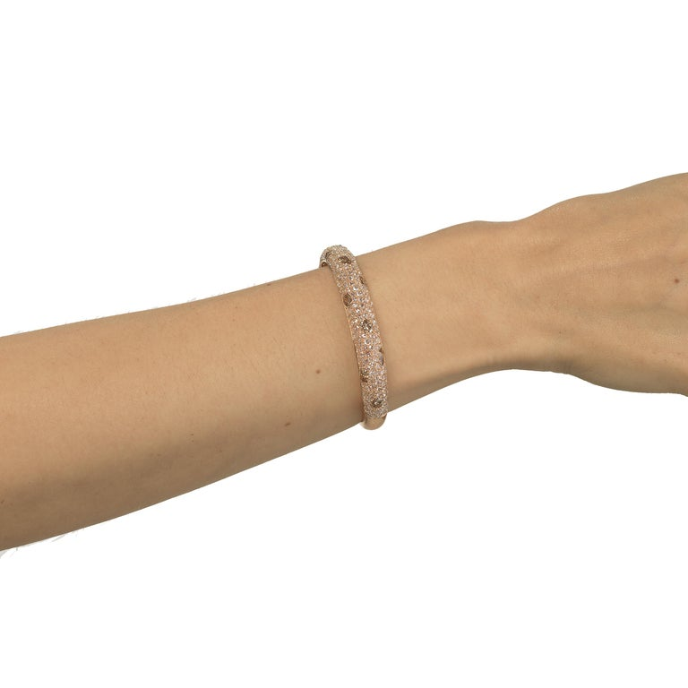 Bangle in 18K Rose Gold with Diamond In New Condition In New York, NY