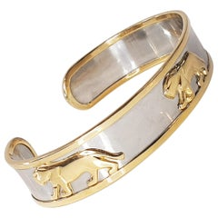 Bangle Panther Bracelet in Stainless Steel and 18k Yellow Gold