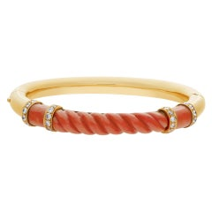 Bangle with Coral and Diamond Accents