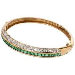 Bangle with Emeralds and Diamonds, 750 Yellow Gold