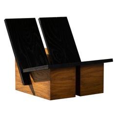 Bangu Lounge Chair Contemporary Cabinet in Ash Veneer by Studio Ocho Cuartos