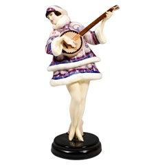 'Banjo Play' Zerline Balten as a Banjo Player, Goldscheider Vienna, circa 1930