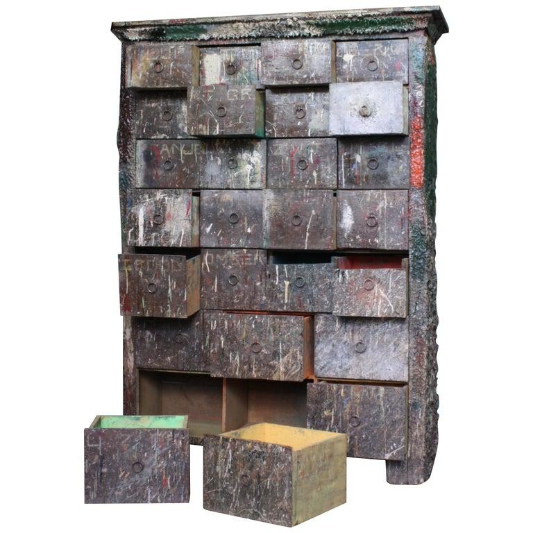 Bank of Drawers Sculptural Artist Studio Pigment Dispensing Cabinet  For Sale