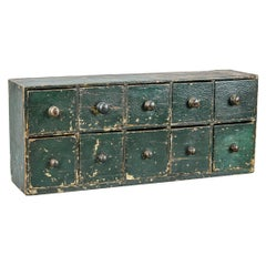 Bank of English 19th Century Desktop Drawers in Historical Paint