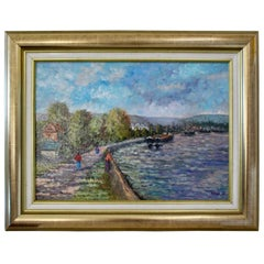 Bank of Seine River Oil Painting by D.Niaux France, 1990