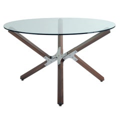 Minimal Industrial Dining Table with Glass Top Walnut and Metal