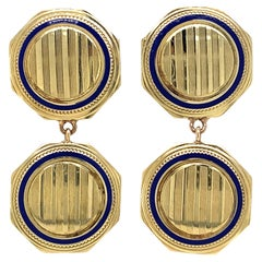 """""""Bankerly"""" Earrings Converted from 1930s Cufflinks in Yellow Gold & Blue Enamel"""